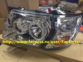 Линзовая оптика фары хром с анг. глазками Nissan Safari Y61