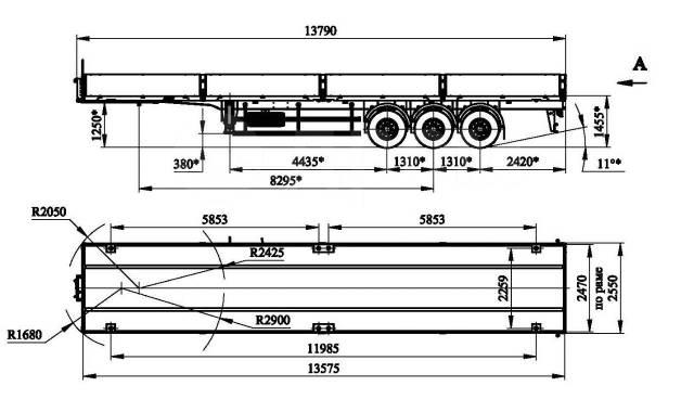 Чмзап. Полуприцеп 3х осный, пневмо под тягач с ССУ 1250+ конт. фитинги, 30 000кг.