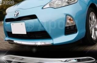 Накладка на низ переднего бампера Toyota Aqua 2011-14гг сталь-хром