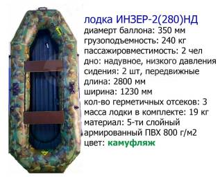 Двухместная надувная гребная лодка. Инзер -2(280) (Россия) камуфляж