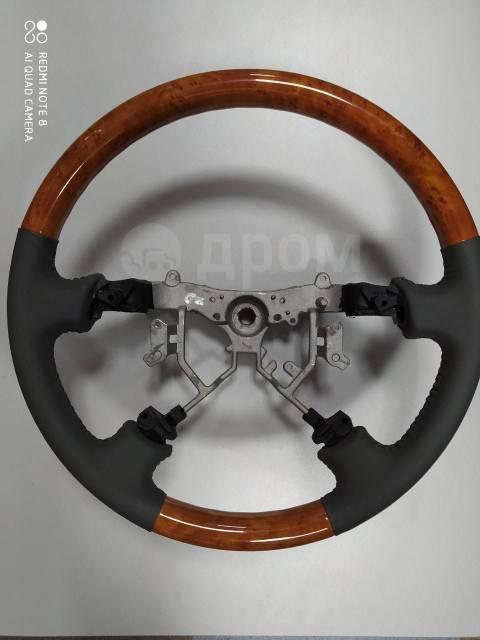 Руль на Тойоту Ленд-Крузер 100 с 2003 по 2006г. Кожа+дерево