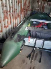 Продам лодку с телегой и двигателем с документами . корейская .