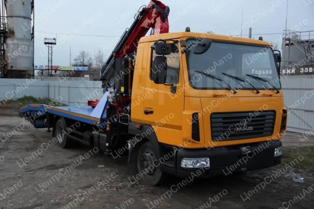 МАЗ 4371. Автоэвакуатор МАЗ-4371 с КМУ Amco Veba 816T/2s с ломаной платформой, 6 700куб. см., 3 500кг., 4x2