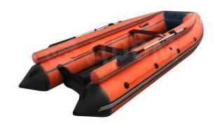Лодка ПВХ ORCA 400F НДНД с фальшбортами, темно-серый/оранжевый