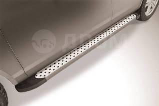 """Пороги алюминиевые """"Standart Silver"""" 1450 серебристые Chevrolet Niva"""