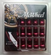 Гайки стальные Mc Wheel. Цвет красный. 20шт. Резьба 1,5