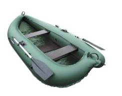 "Лодка ПВХ ""Компакт-260"", две слани из фанеры, двухместная, зеленая"