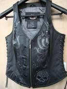 Женский кожаный жилет для Harley Davidson, размер XS.