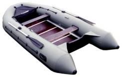 "Лодка ПВХ ""Лидер-430"", под мотор (35 л. с. ), жесткий пол, серая"