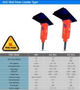 Гидромолот ACE 35SL для мини погрузчика массой 3-5.5 т. типа  Bobcat