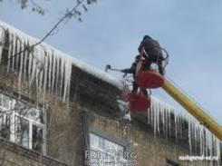 Уборка снега с крыш, монтаж рекламы автовышкой