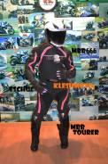 Мото костюм для спорт байков женский раздельны MBR 666 черно-розовый