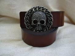 """Байкерский ремень с пряжкой """"череп"""", прессованная кожа, Япония."""