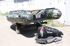 Продам комплект надувную лодку, мотор двухтактный, телегу.