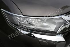 Накладки на фары (хром) Mitsubishi Outlander 2015-2020