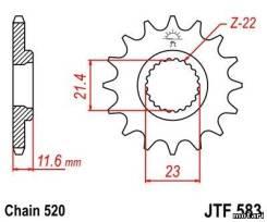 Передняя (ведущая) JTF583 звезда Yamaha TT250R (1993-2004) 3A013