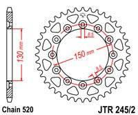Звезда задняя (ведомая) JTR 245/2.47