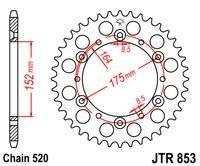 Звезда задняя ведомая JTR853.52