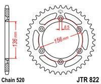 Звезда задняя (ведомая) JTR822.50