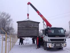 Кран-Борт г/п 12 тонн(Эвакуатор) перевозка Гаражей-Контейнеров.