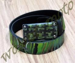 Ремень Monster бляшка темная со значками М зелено-черный