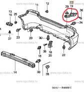 Крепление бампера. Honda Civic, EU1, EU2, EU3, EU4 Двигатели: 4EE2, D14Z5, D14Z6, D15Y3, D16V1, D16V2, D16V3, D16W7, D17A2, D17A5, K20A3