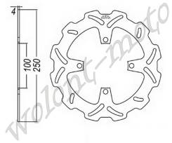 Тормозной диск передний JT JTD2114SC01 Kawasaki KX125-03-05/KX250F-04-05