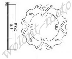 Тормозой диск JT Задний JTD2115SC01 Kawasaki KX125 03-05 KX125 06-08