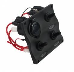 Панель переключателей влагозащищенных  3клавиши и розетка12 v, черная