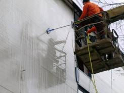 Очистка, окраска, защита фасадов, окон. вывесок, кровли на высоте до 20м.