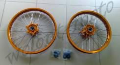 Комплект колес 1.6*21&2.15*19 Ступица-оранжевый, Обод-оранжевый KTM (3-14) (передний-задний)