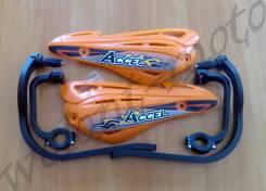 Защита рук/ручек на руль усиленный тип Черные дуги, Оранжевые лопухи Accel (Taiwan) HGS-10 Orange