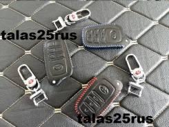 Чехол на чип ключ Toyota Camry 55 16+ (Эко кожа, Красная строчка)