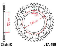 Звезда задняя (ведомая) JTR 499.40.44 зуба Kawasaki Vulcan 400