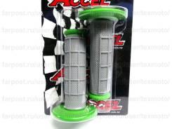 Мото Грипсы без отверстия Accel (Зеленый) ручки руля мотоцикла