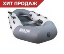 Лодка БРИЗ 240 надувная гребная из ПВХ с мягким дном (бело/серый)