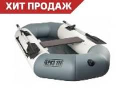 Лодка БРИЗ 220 надувная гребная из ПВХ с мягким дном (бело/серая)