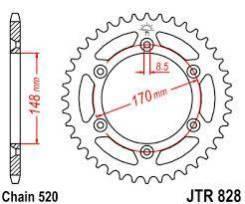 Звезда задняя (ведомая) JTR828 под 520 цепь 42,48
