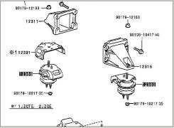 Подушка двигателя TOYOTA MARK II JZX100 1JZGTE