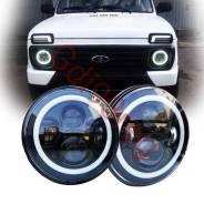 "Фары передние светодиодные LED 7"" Нива 2121/ УАЗ. Nissan Patrol Mercedes-Benz G-Class Toyota FJ Cruiser Лада 4x4 2121 Нива, 2121 Land Rover Defender J..."