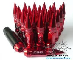 Гайки пули Rays 12х1,25 (красные) 20 штук, сталь (отправка по РФ)