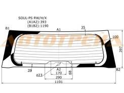 Стекло заднее (крышка багажника) с обогревом в клей KIA SOUL PS 13- XYG