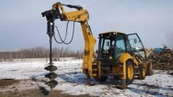 Аренда экскаватора-погрузчика с ямобуром Caterpillar 428F