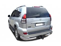 Защита заднего бампера двойная угловая Toyota Land Cruiser Pado 120