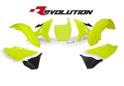 Комплект пластика R-Tech Yamaha YZ125/250 02-18 (R-KITYZ0-GF0-REV) REVOLUTION неоновый желтый/черный