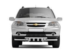 Защита переднего бампера двойная с зубьями 63/63мм Chevrolet Niva2009