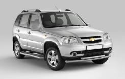 Защита порогов . фигурной площадкой Chevrolet Niva 2009-