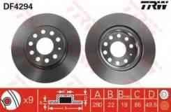Тормозной диск Trw DF4294 Faw: 16D615301 L1KD615301C. Svw: 16D615301. Vag: JZW615301A 1K0615301AC 1K0615301AK 1K0615301S 5C0615301 Audi A3 (8p1).
