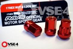 Спорт гайки RAYS (16 гаек + 4 секретки) Steel M12X1,25 RED [VSE-4]