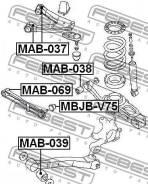 Сайлентблок поперечного рычага подвески | зад прав/лев | Febest MAB069